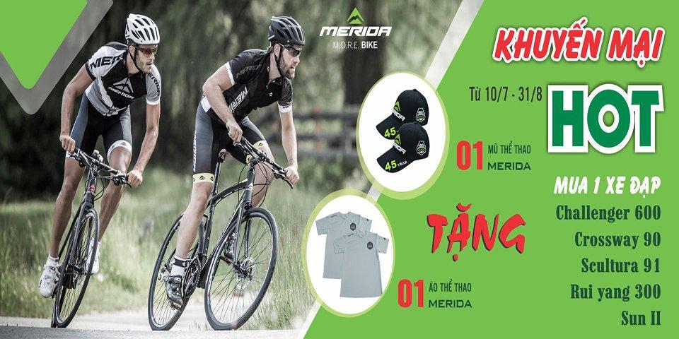 HOT:Tặng ngay 1 áo thể thao +1 mũ lưỡi chai Merida khi mua xe đạp Merida